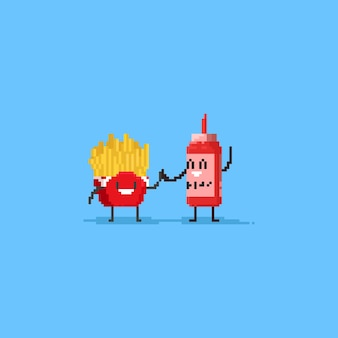 Pixel cute french fries and ketchup does the high five