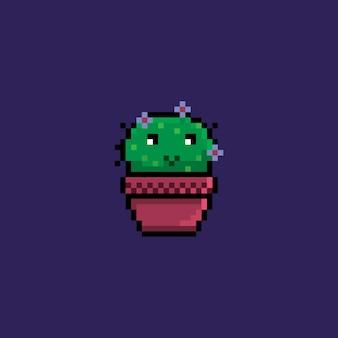 픽셀 귀여운 작은 선인장 식물 로고