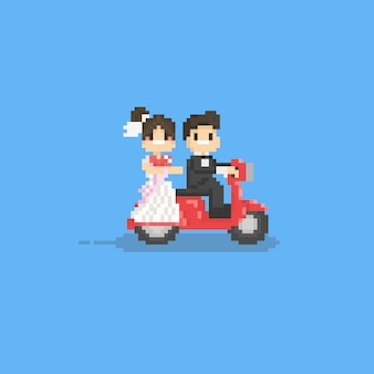 Pixel cute wedding couple character riding a red scooter. 8bit.