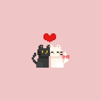Pixel cute white and grey cat with red heart. valentine's day.