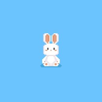 Pixel cute white rabbit doll