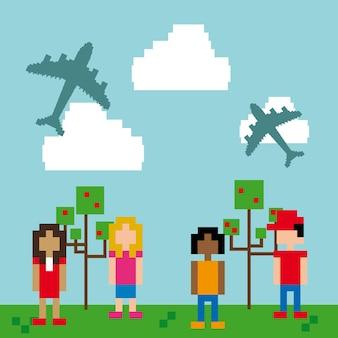 Pixel design over sky background vector illustration