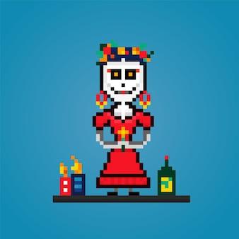 Pixel dia de losmuertos死者の日メキシコの休日の祭り赤いドレスを着た女性のスケルトン