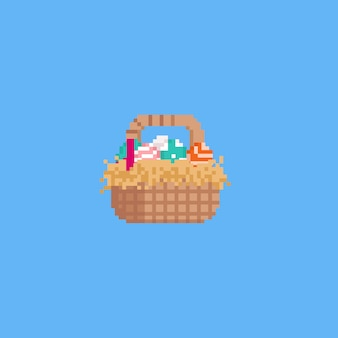 Pixel easter egg with basket