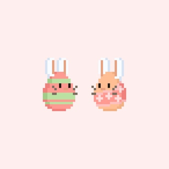 Pixel eggs with bunny face and ears