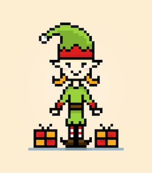 ピクセルエルフのキャラクターのクリスマス休暇