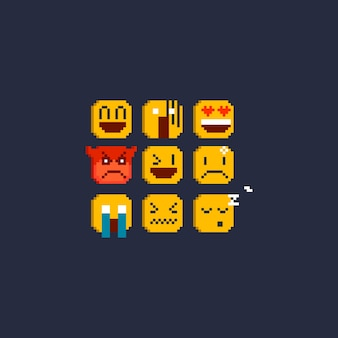Pixel emoticon set