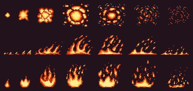 ピクセルファイアアニメーション。真っ赤な炎、燃える効果の火の境界線と燃えるような爆発セット