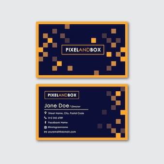Pixel flat design business card