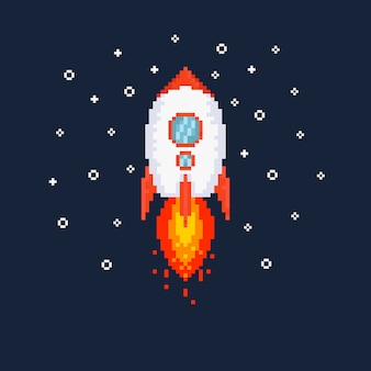 Pixel flying rocket illustration.