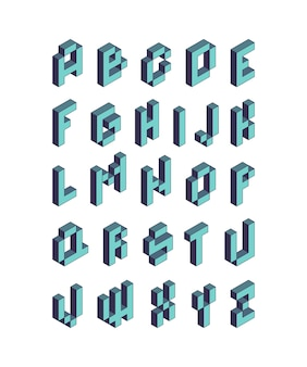 Pixel font. isometric video game alphabet retro style 90s cubic letters vector 3d. pixel game alphabet, typography font illustration
