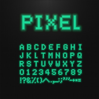 Pixel font, letters, numbers and signs on old computer led display.