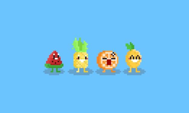 Pixel fruit character.summer tropical.