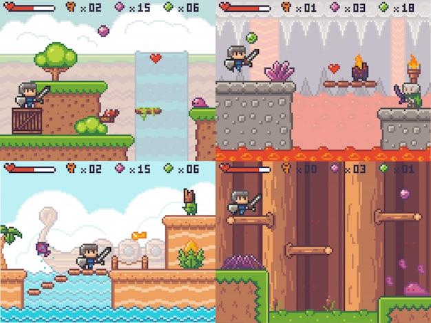 Pixel game adventure arcade. pixelated swordsman prince running. 8 bit quest gameplay scene