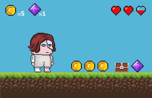 Пиксель игровой фон реквизит и персонажи вектор eps 10