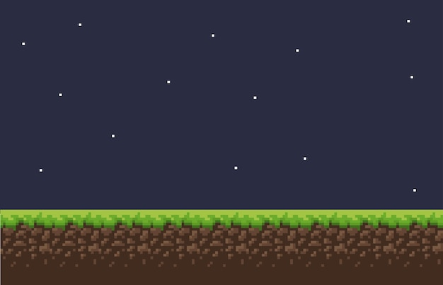 Pixel game background with ground grass sky and props and character