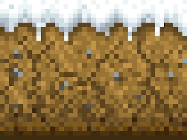 雪と地面のパターンとピクセルゲームの背景