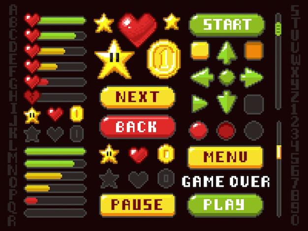 Пиксельные игровые кнопки, элементы навигации и обозначения и набор векторных символов