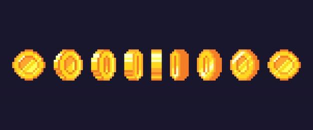 ピクセルゲームコインアニメーション。ゴールデンピクセルコインアニメーションフレーム、レトロな16ビットピクセルゴールド、ビデオゲームのお金のイラスト