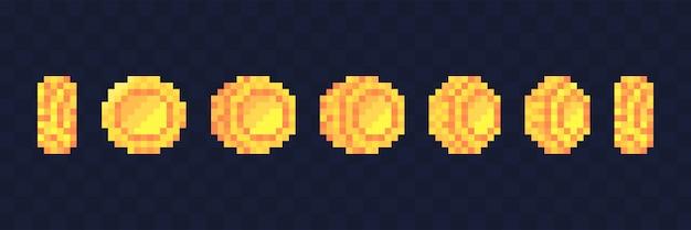 Пиксельная анимация игровых монет. анимированные кадры с золотой пиксельной монетой