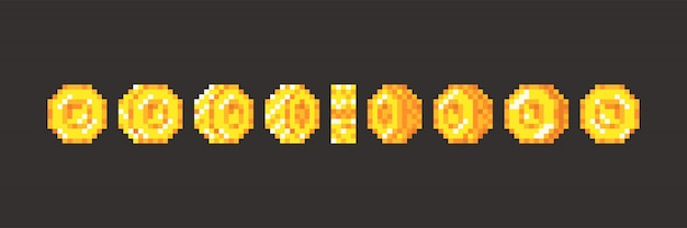 Pixel game coins animation