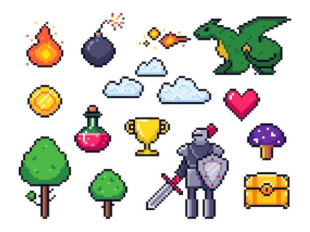 ピクセルゲーム要素。ピクセル化された戦士と8ビットピクセルのドラゴン。レトロなゲームの雲、木、アイコンセット