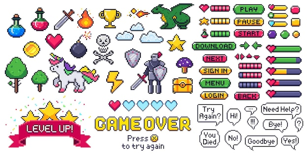 Pixel game elements set. digital life bars and menu button as menu, stop and play. speech bubbles with message. objects as heart and coin, trophy and fire, cloud and bomb vector illustration