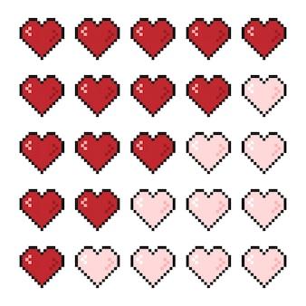 Пиксельная игровая полоса здоровья сердца 8-битная полоса жизни