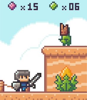 Pixel game interface, element. 80s graphic. knight with sword in front of wall with monster above