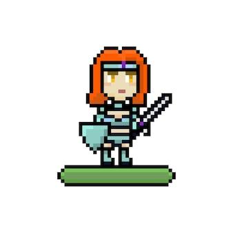 Пиксельный игровой интерфейс героя женского персонажа со щитом и мечом для мобильной 8-битной игры