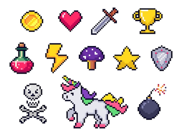 Pixel game items. retro 8 bit games art, pixelated heart and star icon. gaming pixels icons set