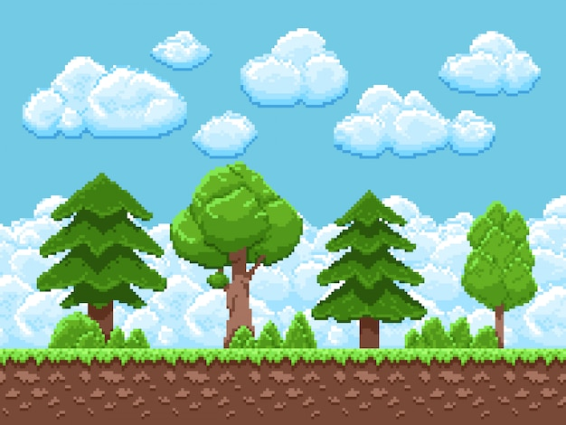 Pixel game landscape with trees, sky and clouds for 8 bit vintage arcade game