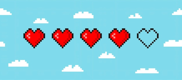 Pixel game life bar isolated on cloud background art 8 bit health heart bar gaming controller