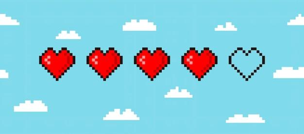 Пиксельная игровая полоса жизни, изолированная на фоне облака арт 8-битная полоса здоровья сердца игровой контроллер