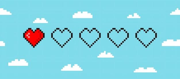 Пиксельная полоса жизни игры, изолированные на фоне облака вектор 8-битная полоса здоровья сердца игровой контроллер