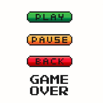 Pixel game menu button - play, pause, back. gaming controller.