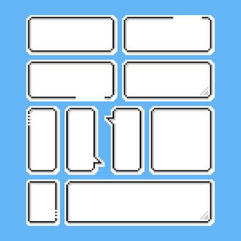 Pixel game speech bubble set.8bit.