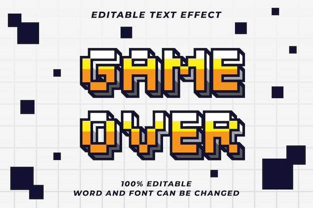 Pixel game over text style effect