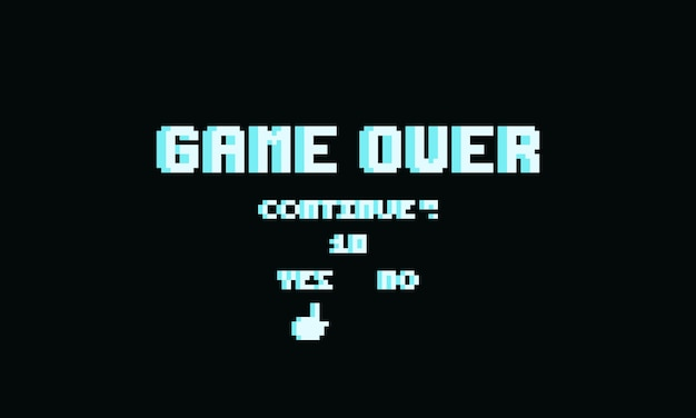 Pixel game over text with continue button.8bit game.