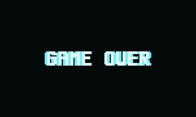 Pixel game over text