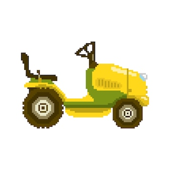 Pixel garden tractor in 8 bit game style. vector illustration