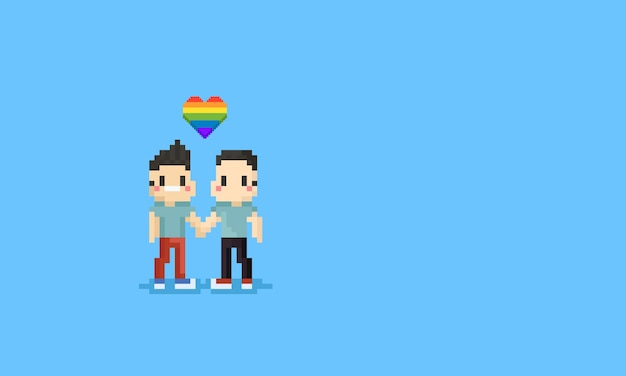 Pixel gay couple hold them hand together