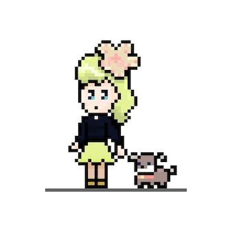 動物と一緒に歩くペットの犬のかわいいキャラクターとピクセルの女の子