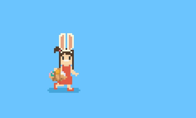 Pixel girl with rabbit ears