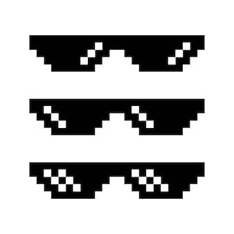 Пиксель очки значок иллюстрации набор