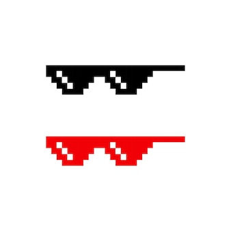 Pixel glasses icon set. vector eps 10. isolated on white background.