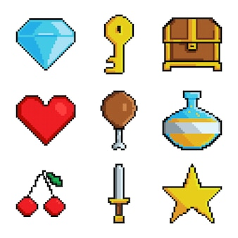 Pixel graphic game objects.