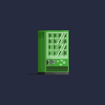 Пиксельный зеленый торговый автомат с закусками.