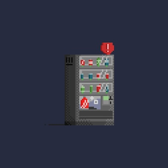 赤色のサインを持つピクセルグレーの自動販売機