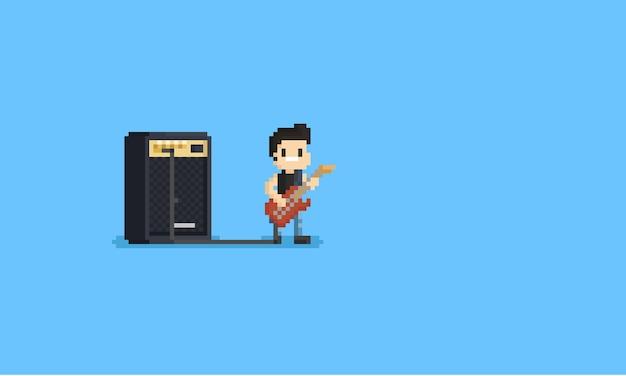 Pixel guitarist character with big amplifier